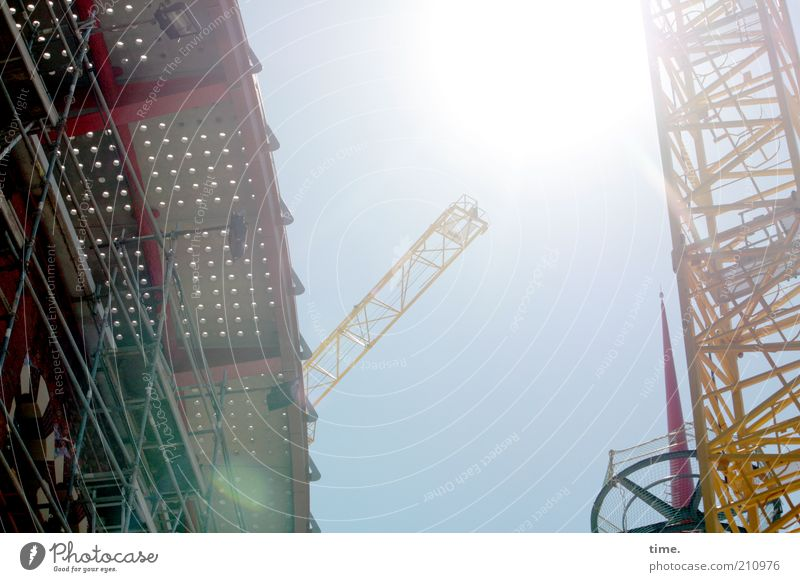siesta non grata Sun Work and employment Construction site Industry Technology Warmth Tower Architecture Build Hot Bright Tall Crane Construction crane Midday
