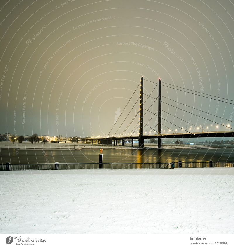 Nature City Winter Street Snow Building Ice Architecture Germany Road traffic Transport Bridge Frost River Manmade structures