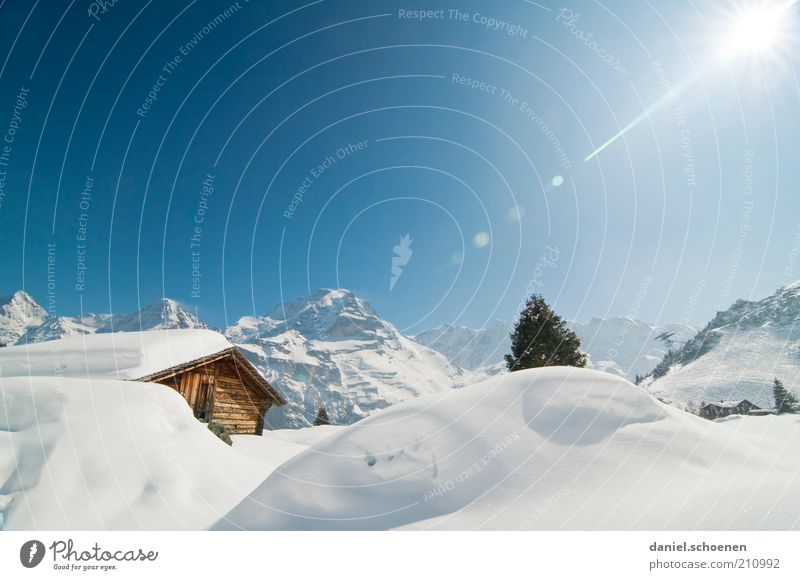 White Sun Blue Winter Vacation & Travel Snow Mountain Landscape Tourism Climate Switzerland Alps Hut Beautiful weather Snowscape Blue sky