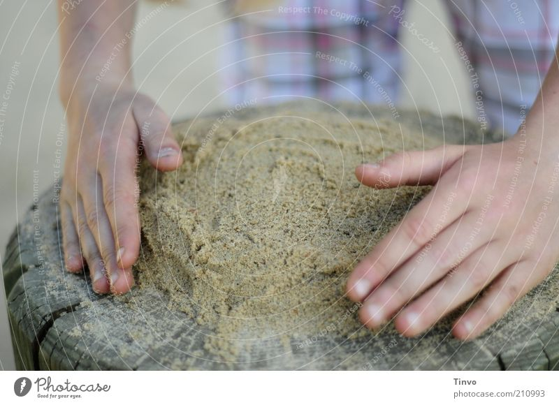 Child Hand Playing Sand Fingers Creativity Children's game Preparation Diligent Leisure and hobbies Human being Children`s hand Sand cake