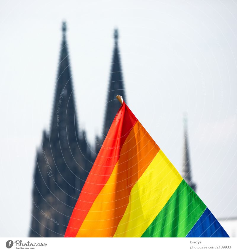 CSD in Cologne Event Dome Cologne Cathedral Sign Flag Rainbow flag Illuminate Together Positive Cliche Joy Acceptance Love Eroticism Sex Life Hope Colour