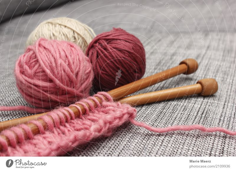 The knitting kit is waiting II Leisure and hobbies Handcrafts Knit Relaxation Authentic Uniqueness Soft Pink Serene Calm Creativity Target Knitting needle Wool