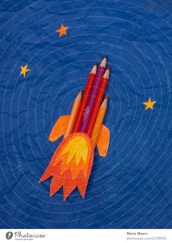 crayon rocket Education School Study Make Cool (slang) Success Curiosity Blue Multicoloured Anticipation Enthusiasm Power Brave Passion Interest Uniqueness