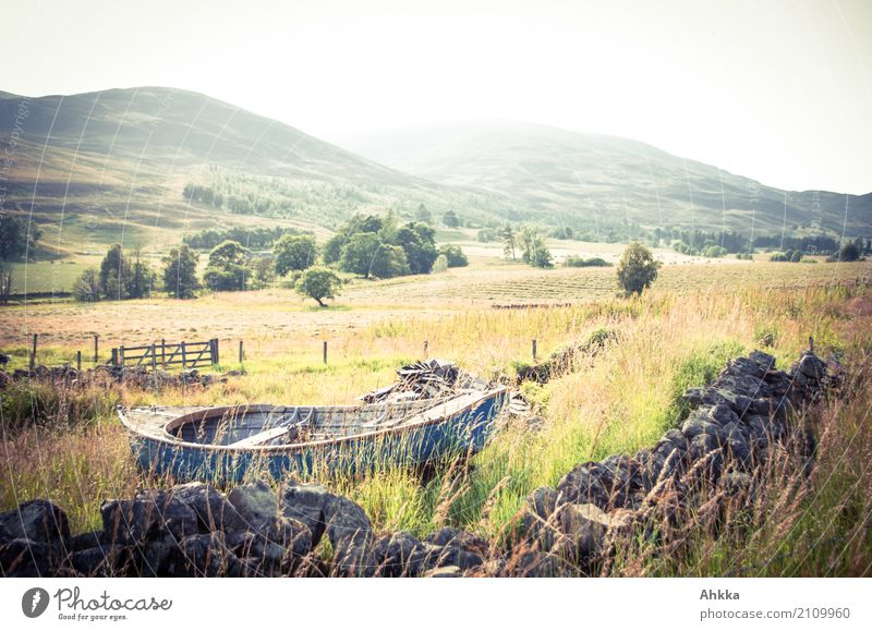 aground Agriculture Forestry Environment Nature Landscape Grass Meadow Scotland Wall (barrier) Wall (building) Rowboat Moody Authentic Flexible Life