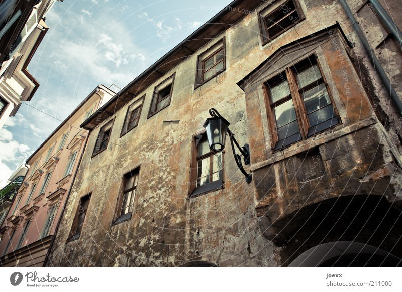 Buy. Town Old town House (Residential Structure) Wall (barrier) Wall (building) Facade Window Dirty Sharp-edged Blue Brown Idyll Meran arcaded alley Narrow