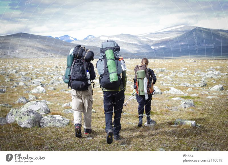 Hikers with lots of luggage, Sweden, Panorama, Adventure Vacation & Travel Trip Freedom Mountain Hiking Life 3 Human being Landscape Rock Scandinavia