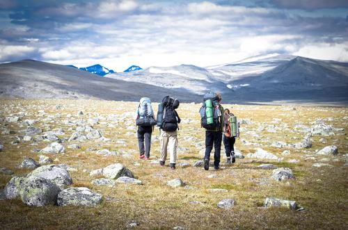 pure pleasure Vacation & Travel Adventure Far-off places Freedom Mountain Hiking Human being Life 4 Group Landscape Lapland Discover Gigantic Infinity