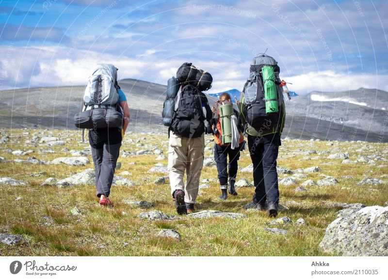 Young people with big backpacks, mountains, Scandinavia Vacation & Travel Adventure Far-off places Freedom Mountain Hiking Life 4 Human being Nature Landscape
