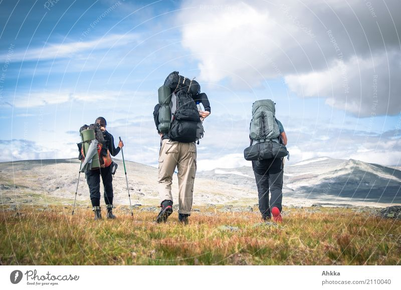 Human being Vacation & Travel Landscape Far-off places Mountain Life Movement Freedom Together Friendship Horizon Trip Hiking Beginning Adventure