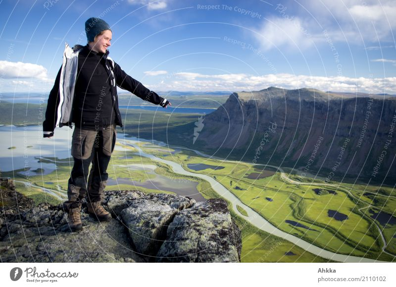 Young woman standing over a river delta, Sarek, Sweden Vacation & Travel Adventure Far-off places Freedom Hiking Youth (Young adults) Landscape Elements