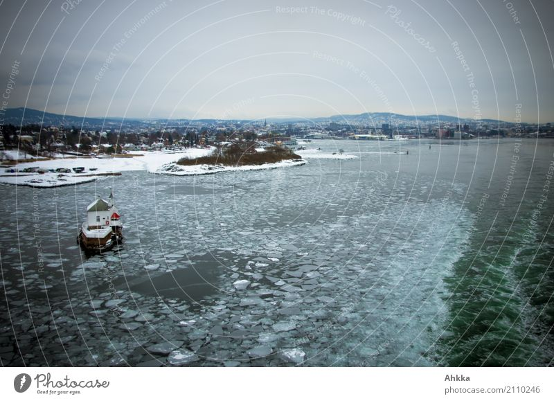 Oslofjord with ice floes, winter Vacation & Travel Adventure Elements Water Winter Ice Frost Coast Fjord Ocean Cold Small Wanderlust Movement Loneliness