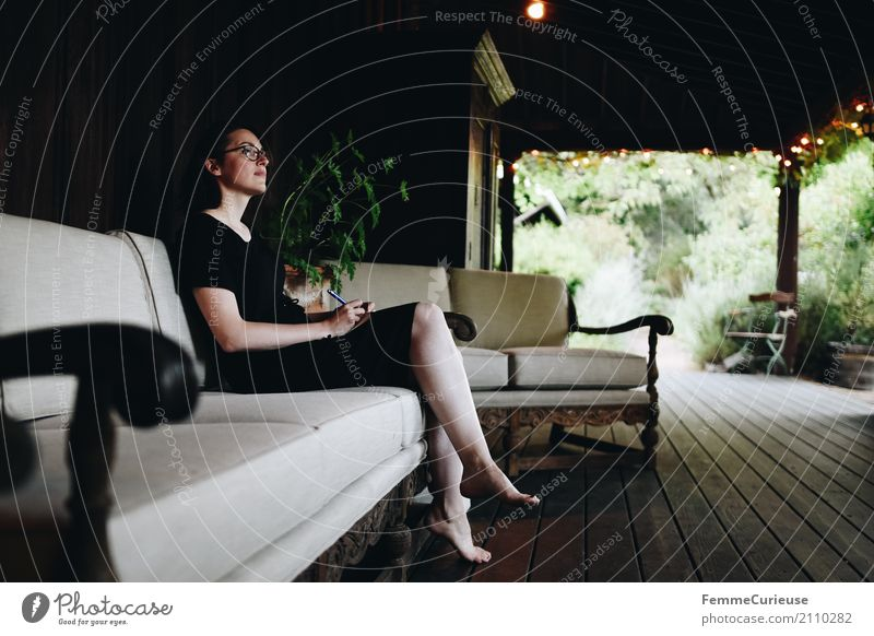 Human being Woman Youth (Young adults) Young woman Beautiful Calm 18 - 30 years Black Travel photography Adults Feminine Garden Think Sit Break Dress