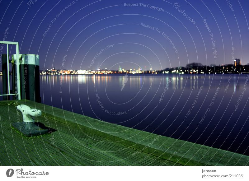 Sky City Green Blue Calm Far-off places Lake Hamburg Night sky Skyline Footbridge Lakeside Jetty Beautiful weather Dusk Perspective