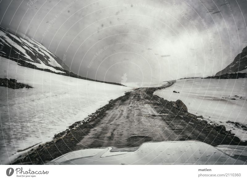 About the pass Nature Landscape Sky Clouds Spring Bad weather Wind Fog Snow Snowfall Rock Mountain Motoring Street Driving Dark Cold Iceland Westfjord Snowstorm