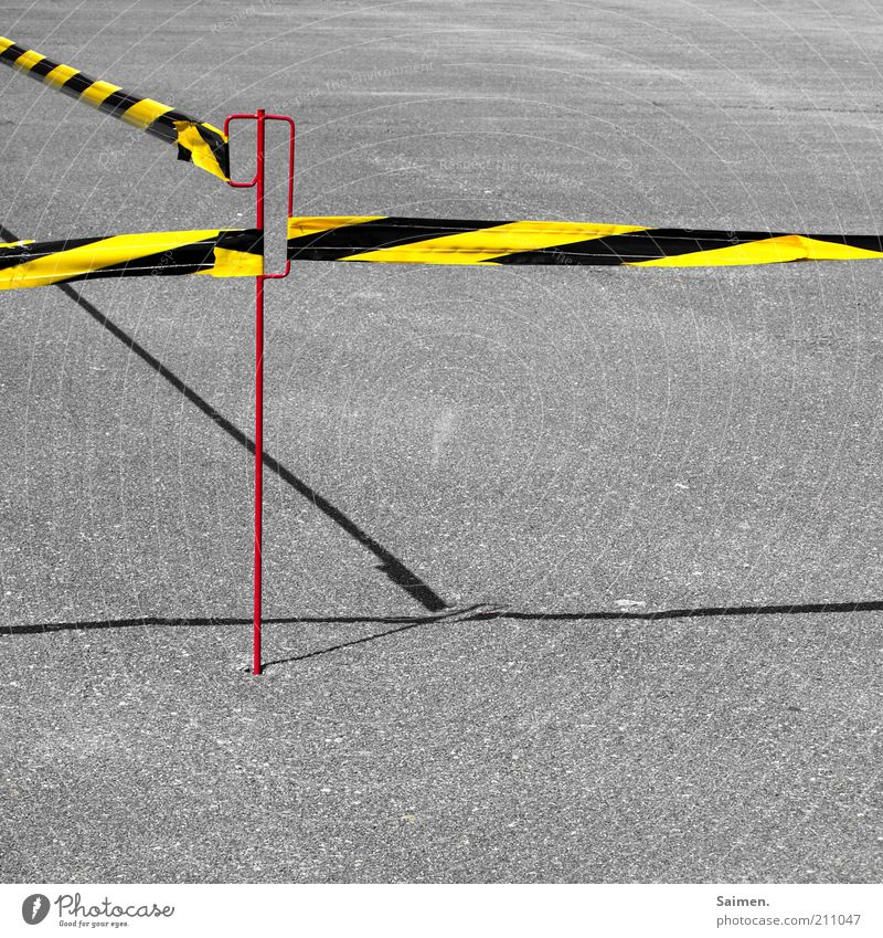 do not cross[User meeting FFM] Traffic infrastructure Street Lanes & trails Barrier Striped Tar Asphalt Shadow Transport Line Stop tethered Closed Colour photo
