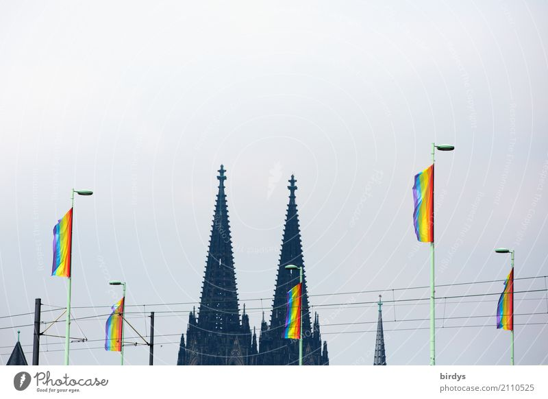 Cologne celebrates the CSD Event Feasts & Celebrations Christopher Street Day Dome Cologne Cathedral Landmark Sign Flag Rainbow flag Prismatic colors Success