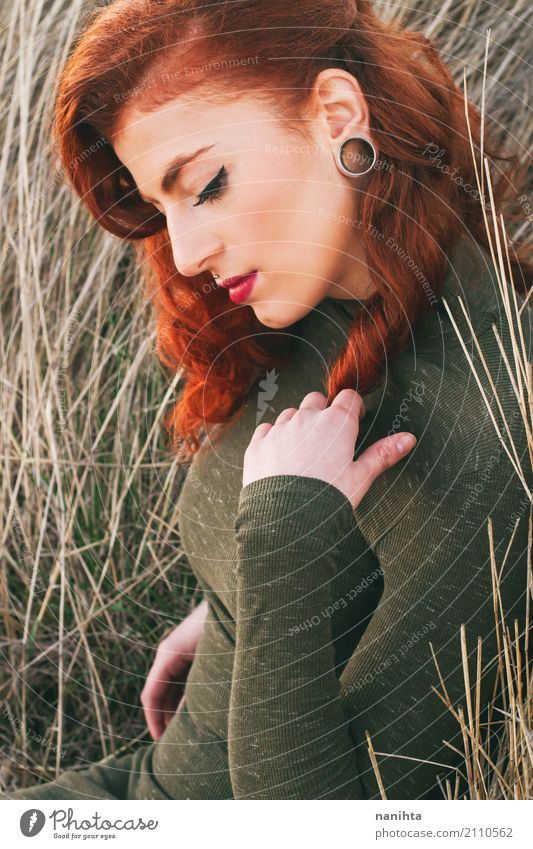 Portrait of a beautiful and stylish redhead woman Human being Youth (Young adults) Young woman Summer Beautiful Green Red Relaxation Calm 18 - 30 years Adults