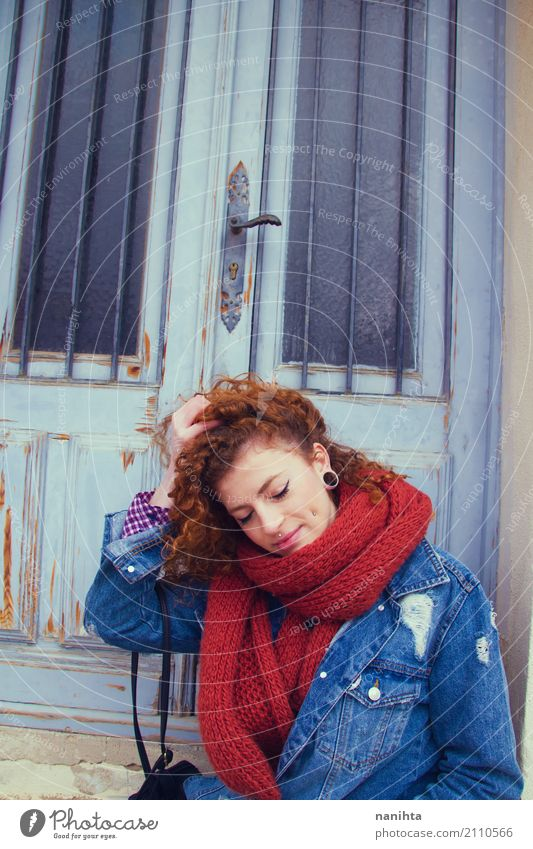 Young redhead woman wearing autumn clothes Human being Youth (Young adults) Blue Young woman Beautiful Red 18 - 30 years Adults Lifestyle Natural Feminine Style
