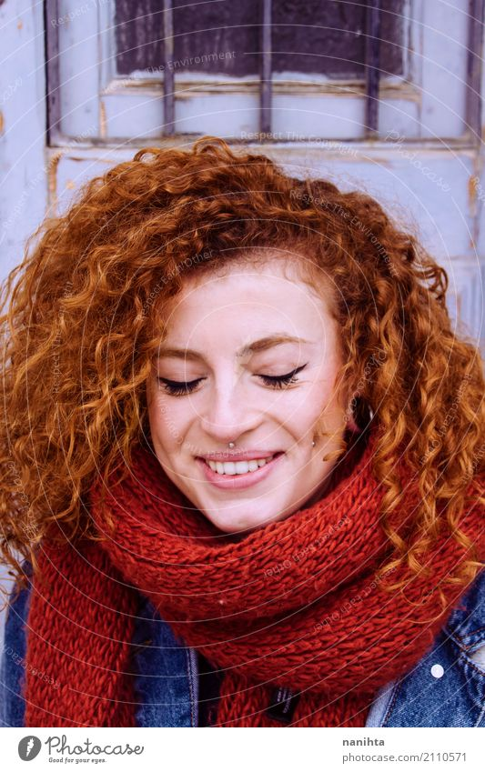 Young and happy redhead woman with a red scarf Human being Youth (Young adults) Blue Young woman Beautiful 18 - 30 years Adults Life Lifestyle Healthy Feminine