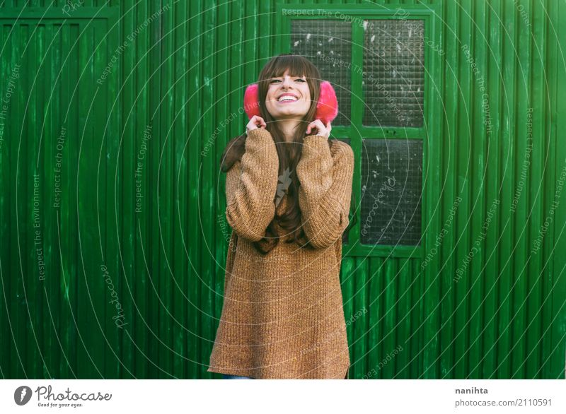 Young cheerful woman with winter clothes Lifestyle Style Wellness Well-being Human being Feminine Young woman Youth (Young adults) 1 18 - 30 years Adults