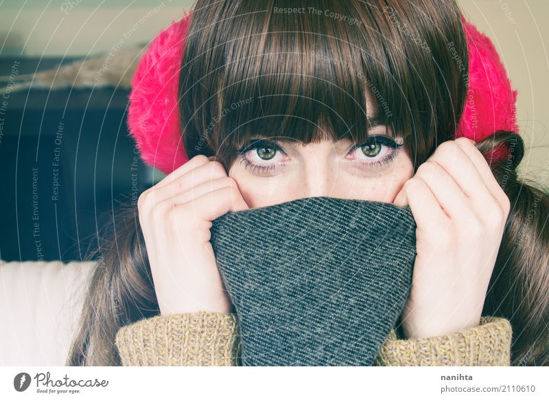 Young cute woman wearing winter clothes Human being Youth (Young adults) Young woman Beautiful Hand Winter 18 - 30 years Adults Eyes Warmth Cold Feminine Style