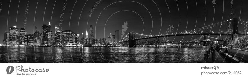 Vacation & Travel High-rise Bridge Esthetic Travel photography Night sky Skyline Poster Wanderlust New York City Manhattan Panorama (Format) Art Brooklyn