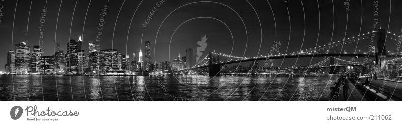 Vacation & Travel High-rise Bridge Esthetic Travel photography Night sky Skyline Poster Wanderlust New York City Manhattan Panorama (Format) Art Brooklyn Work of art