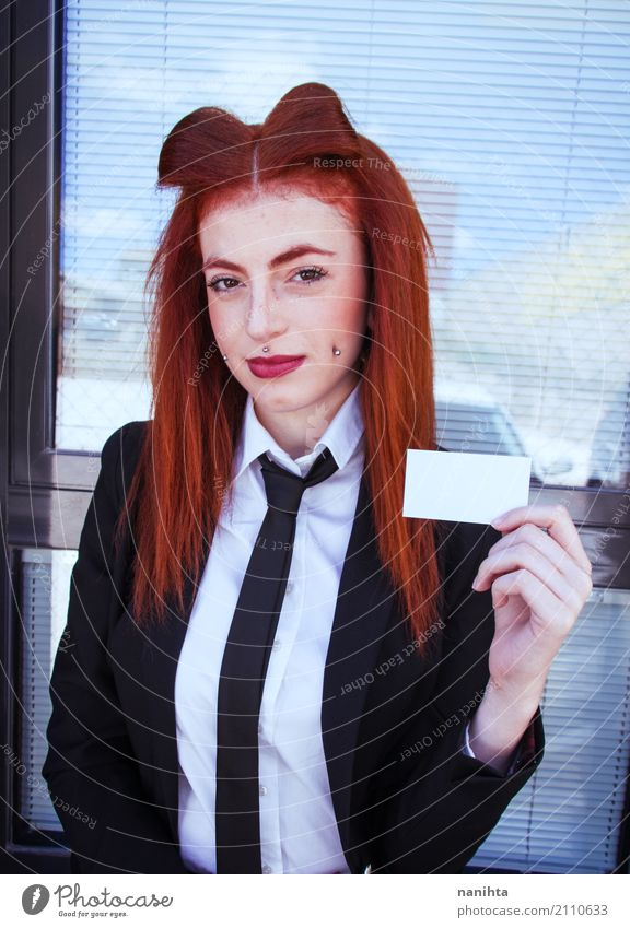 Redhead business woman with her blank calling card Lifestyle Elegant Style Design Joy Beautiful Freckles Work and employment Profession Workplace Business