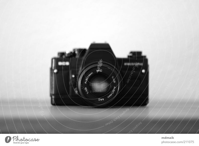 flea market camera Camera Cheap Retro Black White Symmetry Black & white photo Studio shot Deserted Copy Space left Copy Space right Copy Space top