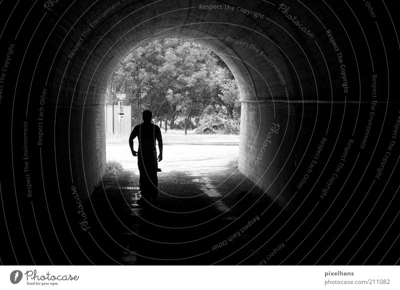 tunnel vision Human being Masculine Man Adults 1 Summer Plant Tree Foliage plant Tunnel Manmade structures Building Architecture Wall (barrier) Wall (building)