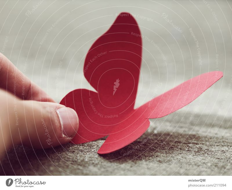 Red Animal Contentment Elegant Flying Fingers Infancy Esthetic Paper Uniqueness Curiosity Symbols and metaphors Creativity Butterfly Idea Surrealism