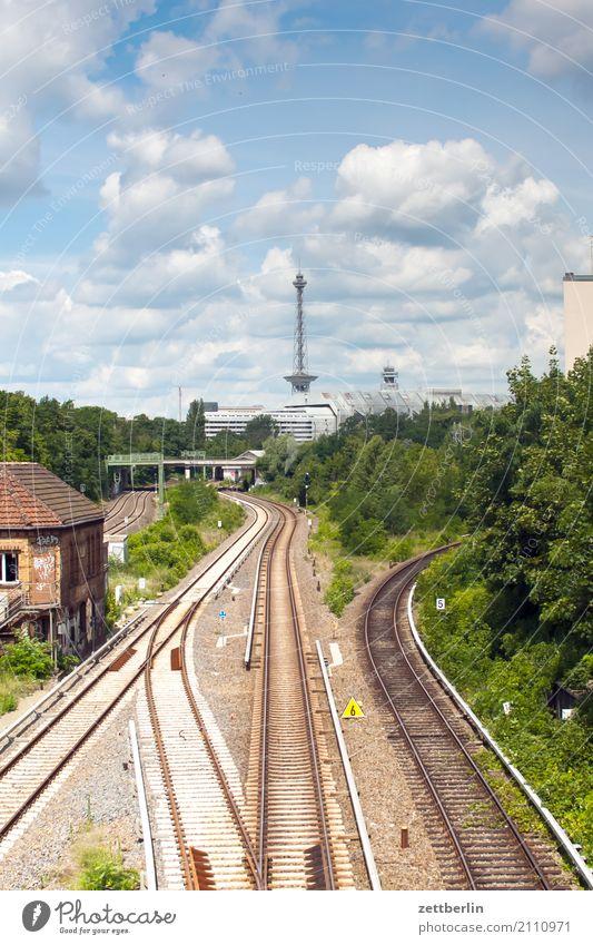 West Berlin Railroad Congress center Transmitting station Railroad tracks halensee Capital city Sky Heaven icc Logistics Bank note Skyline Summer Town Transport