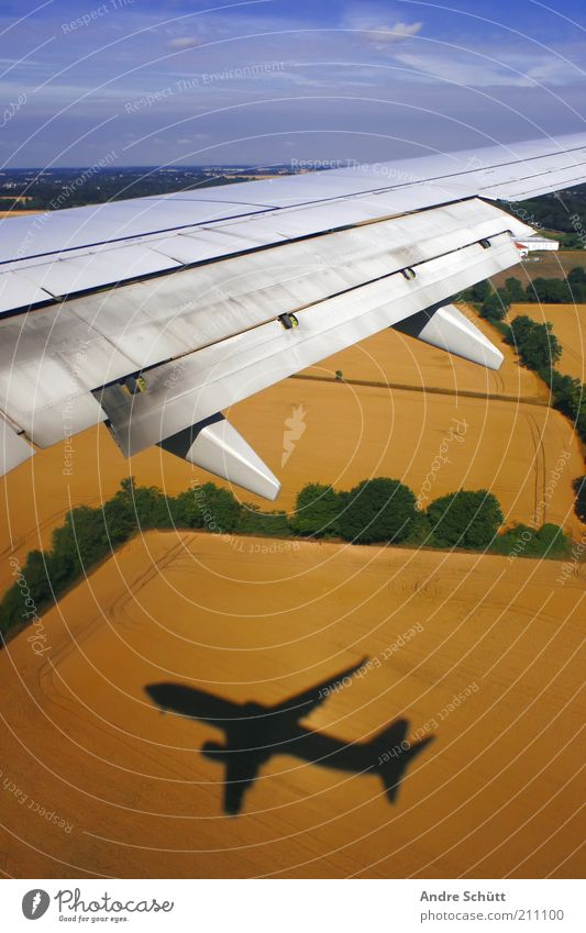 Take off Vacation & Travel Passenger plane View from the airplane Flying Fear Wing Field Sky Airplane Blue Yellow Green Agriculture Shadow Tall Landing flap