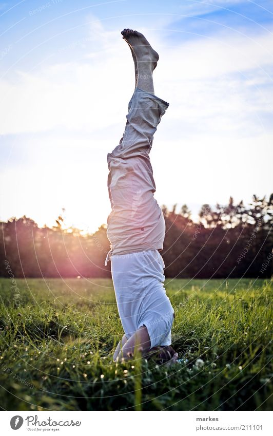 time to stand up! Yoga Human being Man Adults 1 Firm Fresh Multicoloured Emotions Serene Testing & Control Concentrate Power headstand asana Blue sky Green