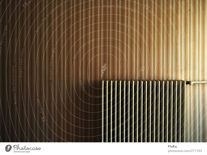 100 Energy industry Wall (barrier) Wall (building) Old Historic Retro Warmth Brown Gold White Wallpaper Wallpaper pattern Stripe Striped Heating Heater