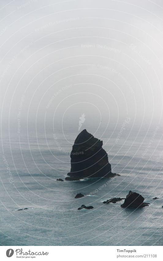 the rock Ocean Gray Fog Sea of fog Misty atmosphere Haze Atlantic Ocean Madeira Rock Dreary Covered Island String of islands Exterior shot Water