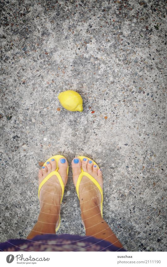 lemon Lemon Fruit Nutrition Healthy Eating Yellow Sour Feet Flip-flops Toes Legs Stand Asphalt Fall down