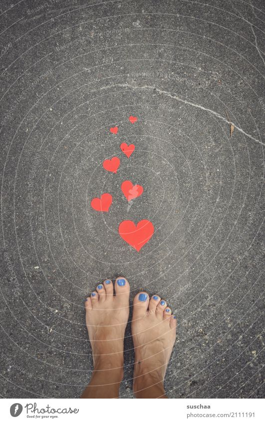 greetings ... uh feet Feet Barefoot Summer Exterior shot Street Asphalt Stand Toes Heart red heart Love Symbols and metaphors