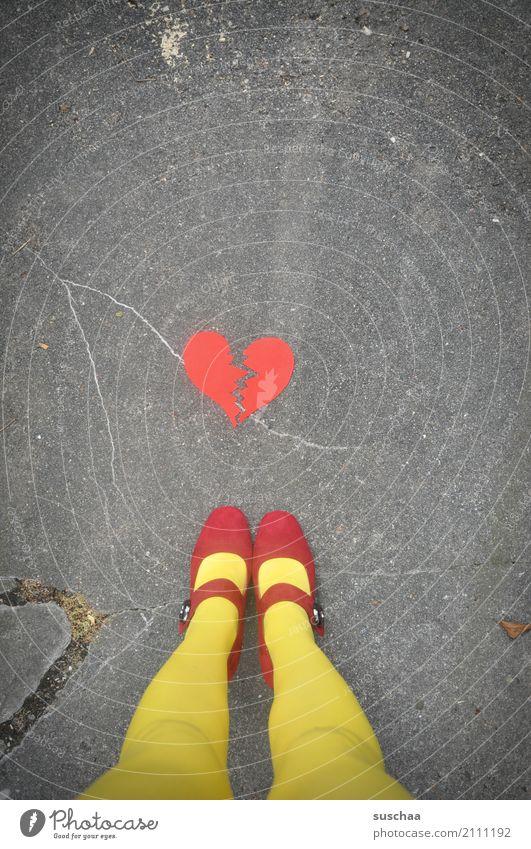 broken heart Feet Legs Footwear buckle shoes Stockings Red Yellow Exterior shot Street Asphalt Stand Heart Broken Crack & Rip & Tear Lovesickness Emotions End