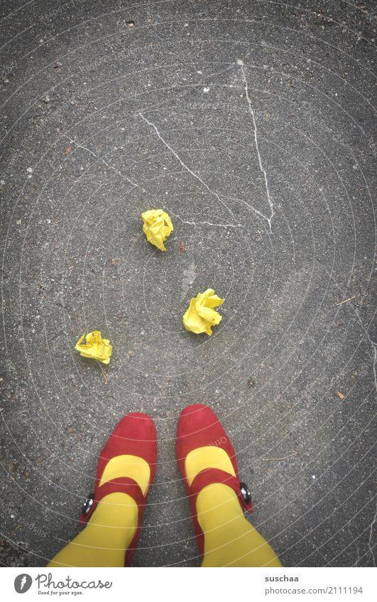 Red Street Yellow Legs Feet Paper Asphalt Document Trash High heels Throw away Love letter