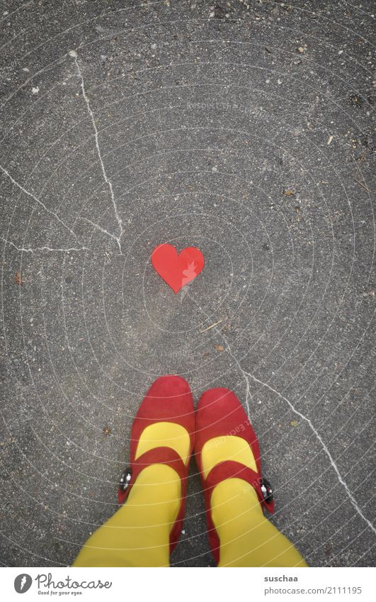 Red Street Yellow Legs Love Feet Footwear Stand Heart Symbols and metaphors Asphalt Stockings