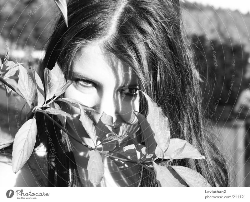 J.S.H. - 'I see something, ...' Bushes Woman Mysterious Timidity Curiosity Twig Hide Eyes Looking