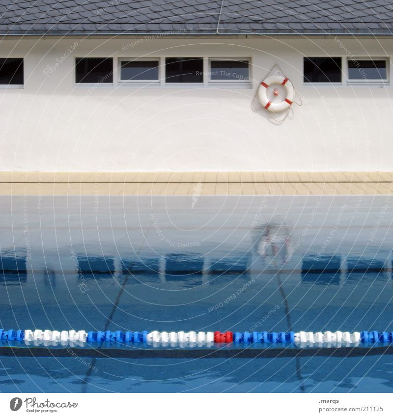 salvation Leisure and hobbies Sports Swimming pool Water Window Life belt Partition Wet Colour photo Exterior shot Deserted Reflection Surface of water