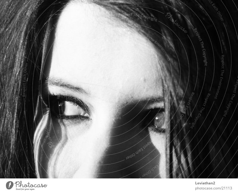 Woman White Face Black Eyes Gray Observe Concentrate Focal point
