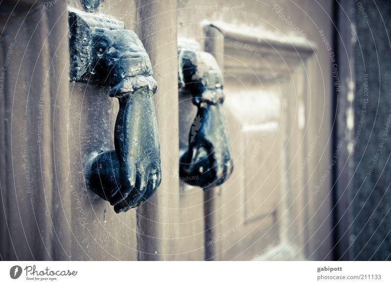 knock knock Lisbon Old town Door Exceptional Whimsical Hand Door handle Subdued colour Exterior shot Deserted Day Shallow depth of field Wooden door Front door