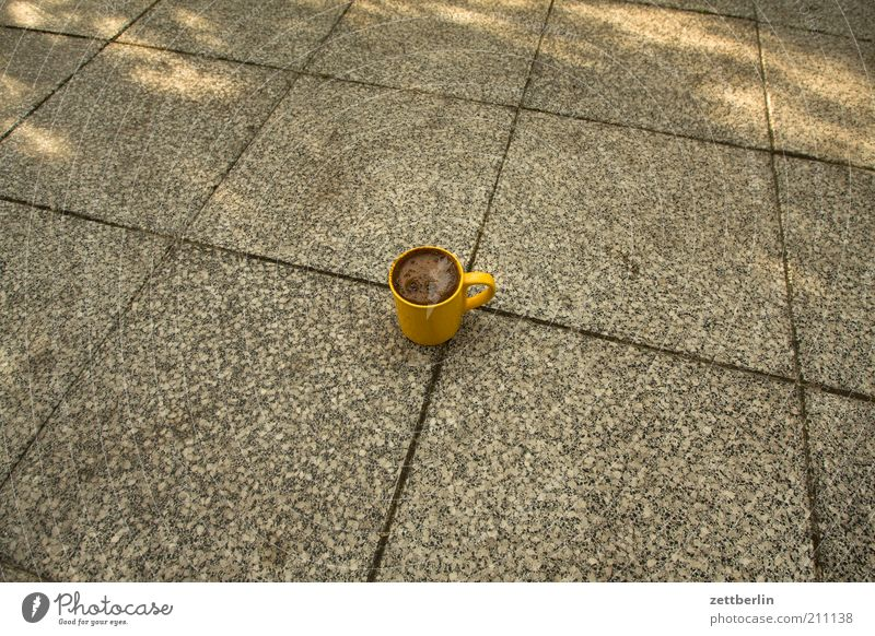 Coffee Ground Cup Terrace Pot Seam Paving tiles August Copy Space left Food Coffee cup