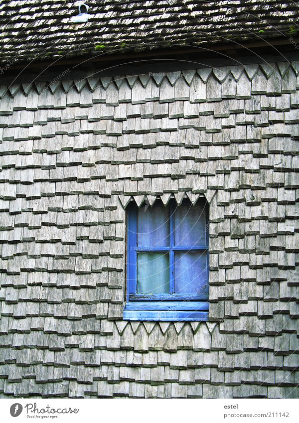 Old Blue Window Wood Gray Small Glass Facade Europe Roof Culture Cute France Manmade structures Historic Safety (feeling of)
