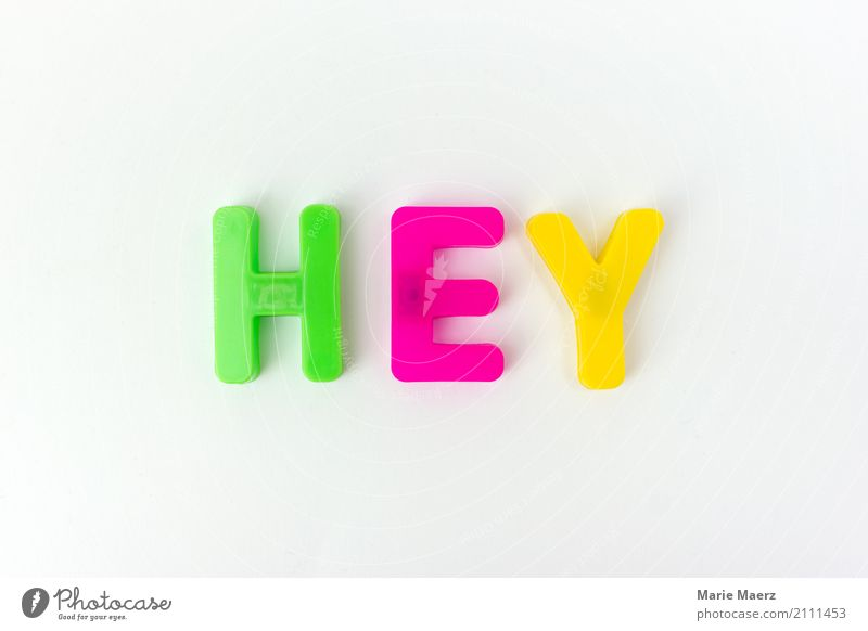hey Design Joy To talk Communicate Simple Multicoloured Beginning Salutation Card Envisage Typography Letters (alphabet) Colour photo Deserted
