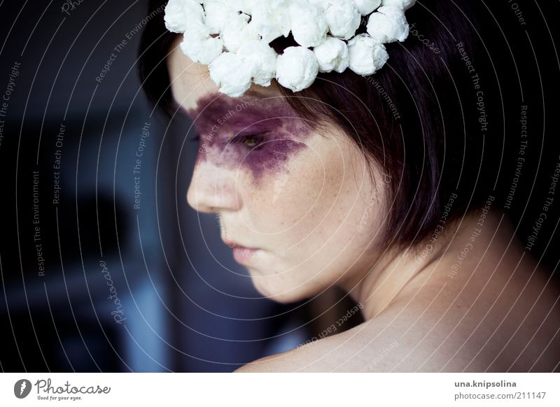 Human being Woman Face Adults Feminine Sadness Fashion Dream Meditative Hide Mask Hat Cosmetics Brunette Make-up Earnest