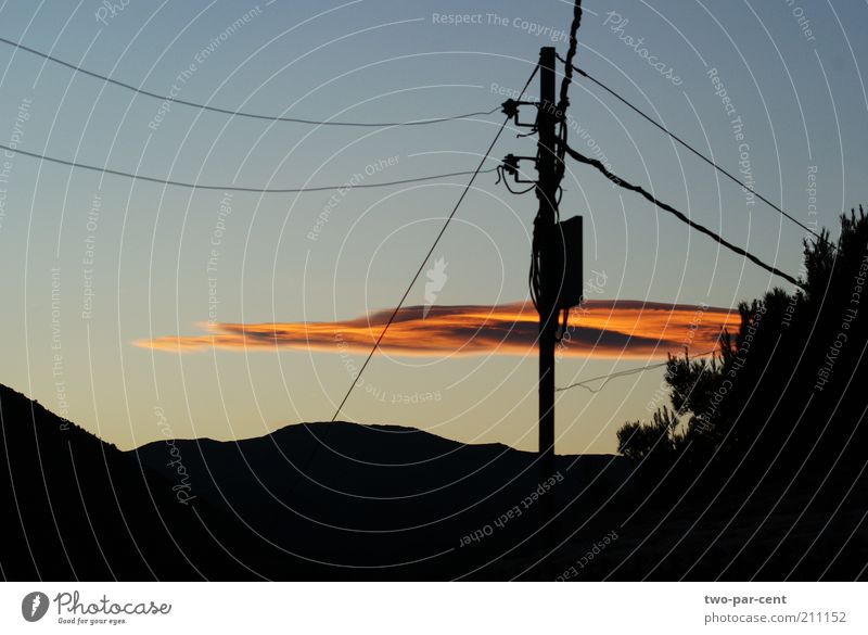 sunset cloud and cables Nature Sky Clouds Moody Environment Beautiful weather Power transmission